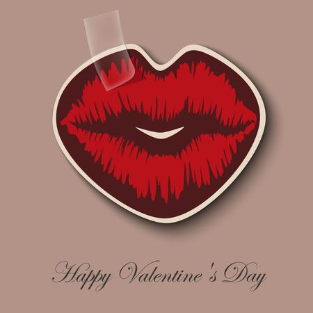 lips kiss: Paper Hearts Lips kiss sticker Illustration