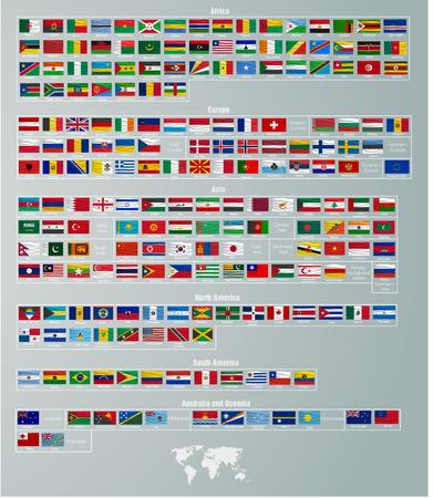 Drapeaux de pays de vecteurs divisés par régions du monde Banque d'images - 36050243