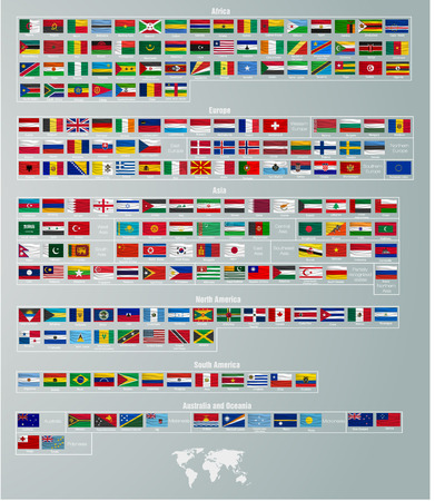 south east asia map: vector flags of countries divided by parts of the world Illustration