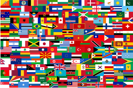 vector flags of all countries in one illustration Vector
