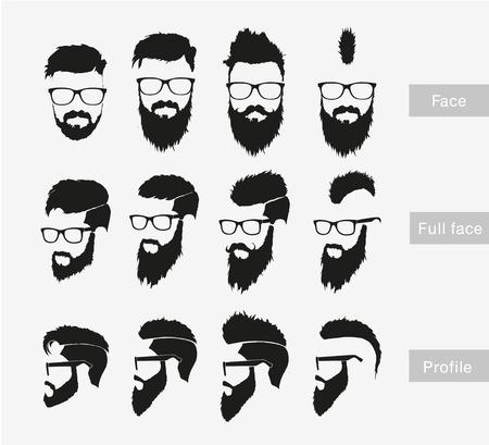 profil: fryzury z brodą w twarz, całą twarz Ilustracja