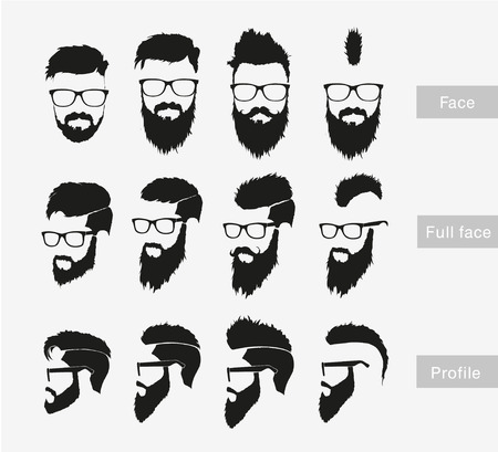 cartoon hairdresser: hairstyles with a beard in the face, full face