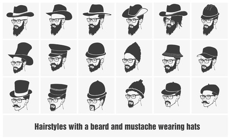 face men: hairstyles with beard and mustache wearing glasses wearing hats
