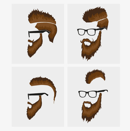 hairstyles with beard and mustache wearing glasses Vector