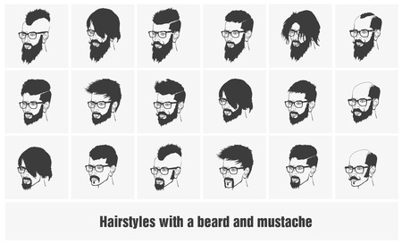 goatee: hairstyles with beard and mustache wearing glasses full face Illustration
