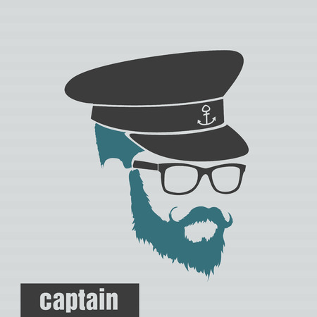 full face: icon captain hairstyles beard and mustache hipster full face Illustration