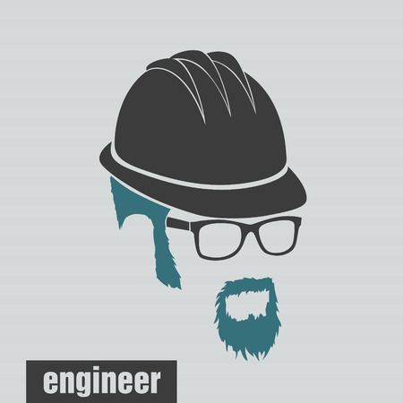 full face: icon engineer hairstyles beard and mustache hipster full face Illustration