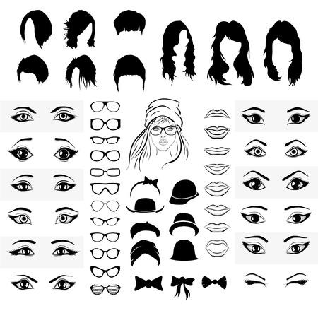 caras de emociones: parte de la cara de mujer, ojos, boca, sombrero y gafas con decoraciones