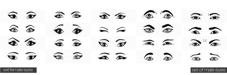 closed eye: Set female and male views of the eye Illustration