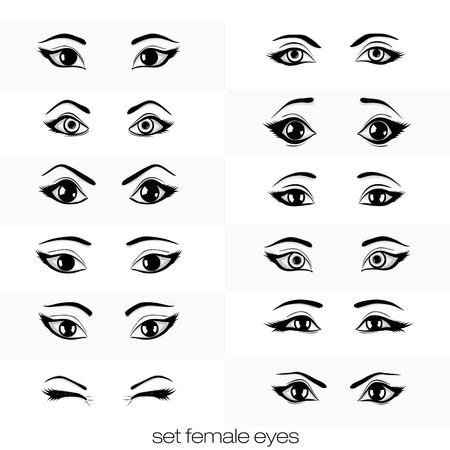set of views of female black eye