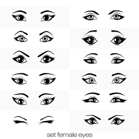 open eye: set of views of female black eye