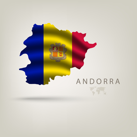 andorra: Flag of andorra as a country with a shadow