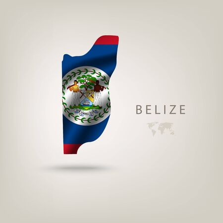 paraphernalia: Flag of BELIZE as a country with  shadow