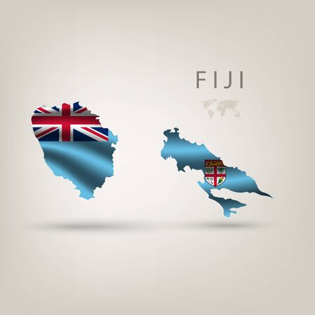 fiji: Flag of FIJI as a country with  shadow Illustration