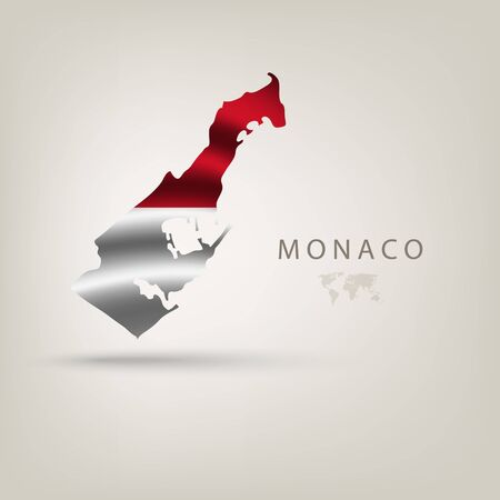 monaco: Flag of MONACO as a country with  shadow