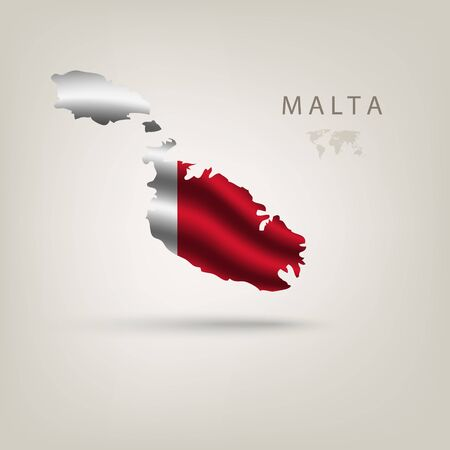 malta flag: Flag of MALTA as a country with  shadow Illustration