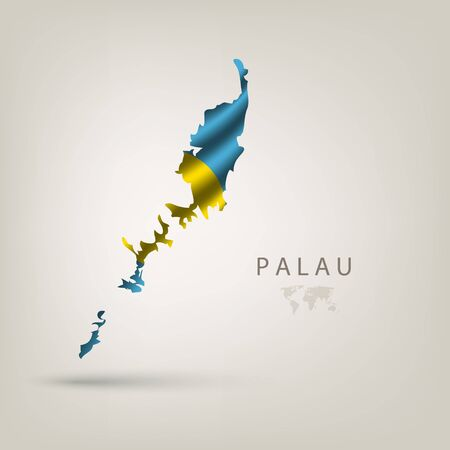 palau: Flag of PALAU as a country with  shadow