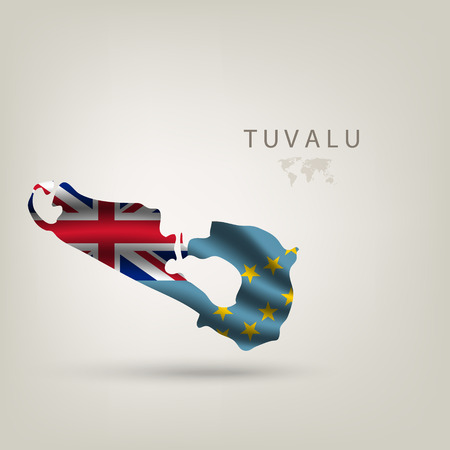 tuvalu: Flag of TUVALU as a country with  shadow Illustration