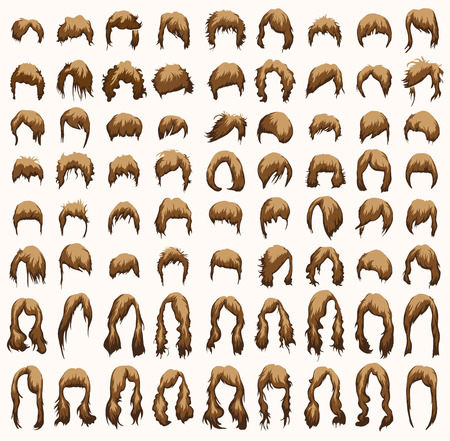 toupee: womens hairstyles and haircuts in brown tones Illustration