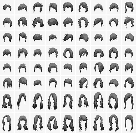 womens hairstyles and haircuts in black tones Stock Illustratie