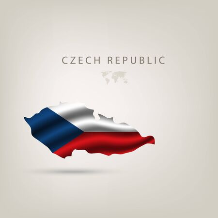 czech flag: Flag of CZECH REPUBLIC as a country with shadow
