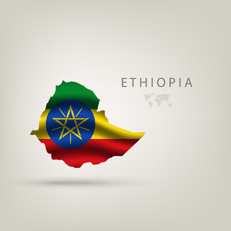 Flag of ETHIOPIA as a country with shadow Vector