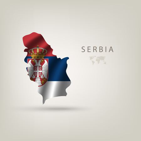 serbia flag: Flag of SERBIA as a country with shadow