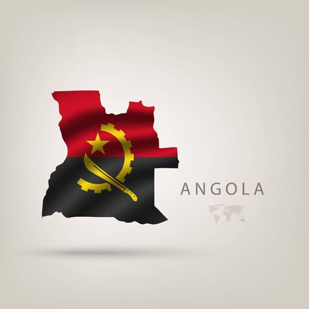 angola: Flag of ANGOLA as a country with  shadow Illustration