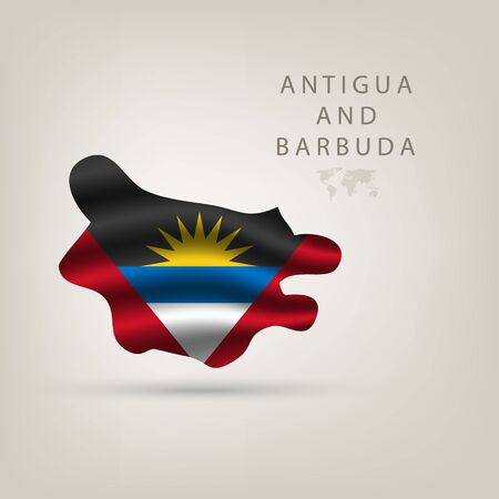 antigua flag: Flag of Antigua and Barbuda as  country with a shadow