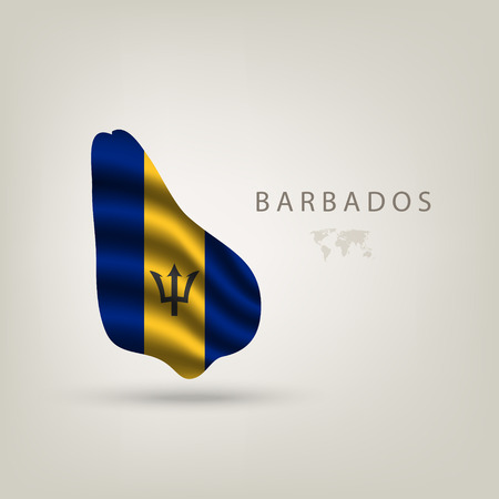 shilouette: Flag of BARBADOS as  country with a shadow