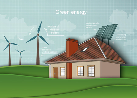 concept of ecology, renewable energy in home green world Vector