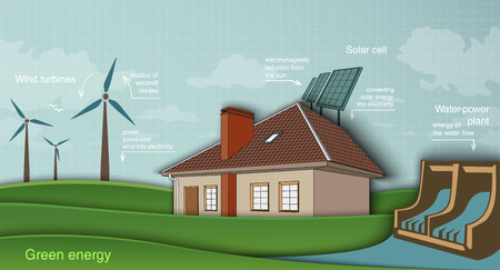 low energy: low energy house with solar panel and wind turbine hydroelectric plant. green energy concept