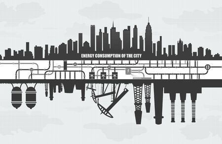 air port: power consumption of large cities, factories and oil waste pollution, ecology concept