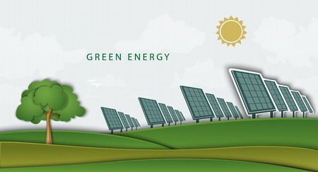ソーラー パネル、バッテリー、クリーン フィールド。クリーン エネルギーの概念