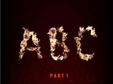 fiery font: Feuer Alphabet. Buchstaben ABC der Flamme auf dunklem Hintergrund
