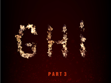 flame letters: fire alphabet. letters G H I of flame