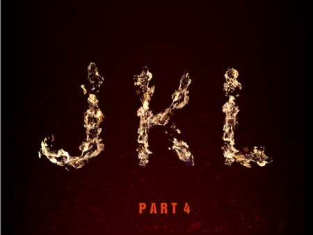 fire alphabet. letters J K L of flame on a dark background