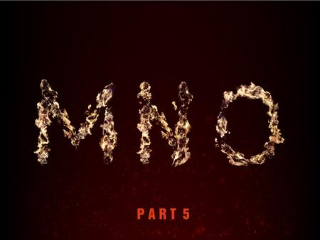 fiery font: Feuer Alphabet. Buchstaben MNO der Flamme auf einem dunklen Hintergrund