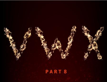fiery font: Feuer Alphabet. Briefe VWX der Flamme auf einem dunklen Hintergrund