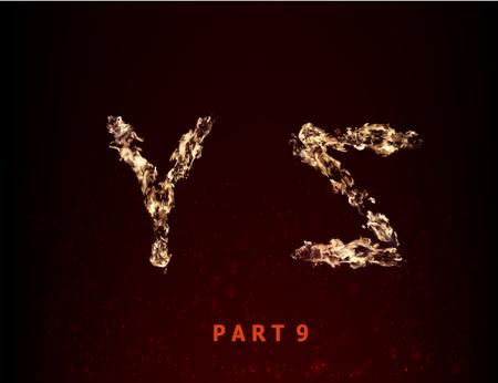 fiery font: Feuer Alphabet. Buchstaben YZ der Flamme auf einem dunklen Hintergrund