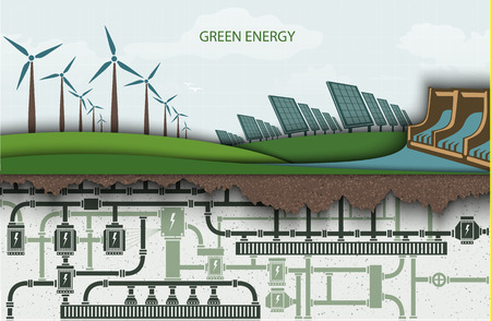 renewable: green energy. Wind-powered electricity with solar panels and hydroelectric power plants. RENEWABLE ENERGY Illustration