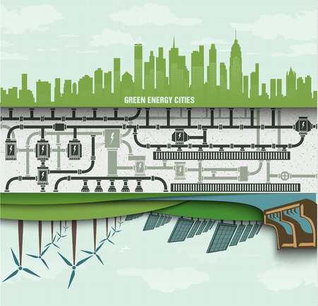 wind: renewable energy in the big city. green ecology with wind generators and solar panels Illustration