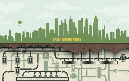 energy: renewable energy in the big city. green ecology with wind generators and solar panels Illustration