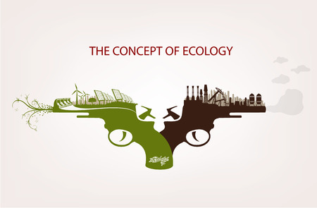 voltaic: Conceptual illustration of pollution and clean environment