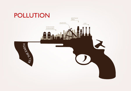 hydroelectricity: gun with plants pollution. the concept ecology