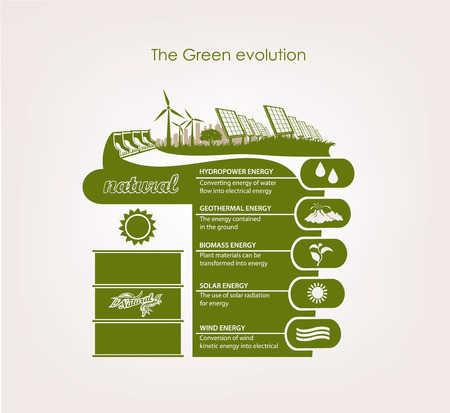 eco power: infographics renewable nature. the concept ecology earth Illustration