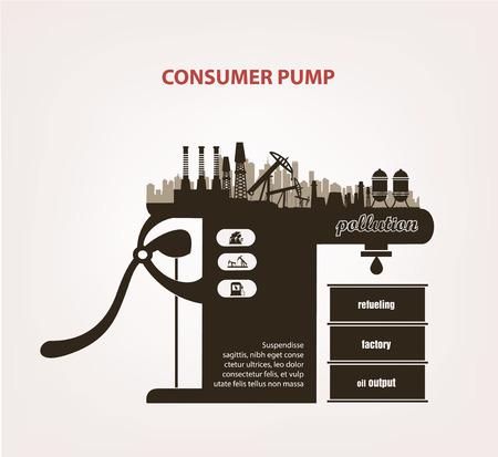 ahorro energetico: la contaminación de la atmósfera y la tierra. el concepto de la ecología Vectores