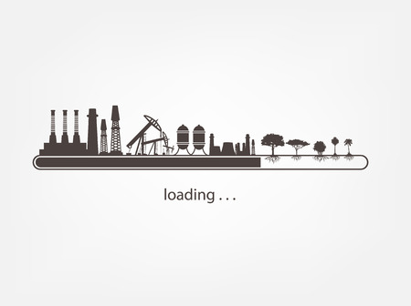polluted cities: Icon download from mills and factories against renewable energy Illustration