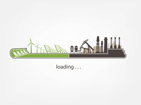 renewable resources: Icon download from mills and factories against renewable energy Illustration