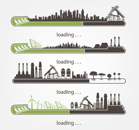 polluted cities: set Icon download from mills and factories against renewable energy